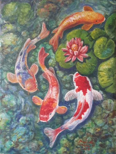 """4 Koi"" 10 x 15 inches Acrylic on Canvas"